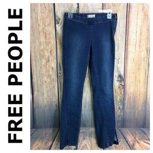 🐞FREE PEOPLE split hem wide zipper stretch jean